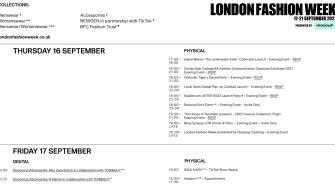 London Fashion Week Schedule