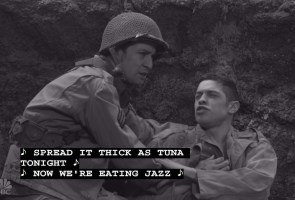 World War II scene Miranda plays the straight man in this one. http://www.nbc.com/saturday-night-live/video/wwii-scene/3112638