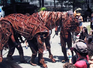 Joey the horse from War Horse visits Broadway in Bryant Park