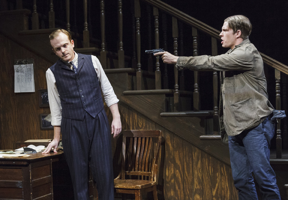 """Jeremy Bobb, Alexander Cendese in scene from The One-Armed Man in """"Harrison, TX: Three Plays by Horton Foote"""""""
