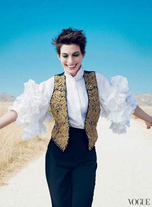 Anne Hathaway in Vogue. She is about to play in the film of Les Miserables