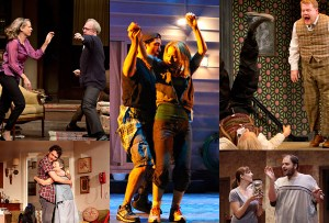 Top Ten Theater of 2012. Shows in  Top Ten lists of theater, from left: Who's Afraid of Virginia Woolf? (top); 4,000 Miles; Detroit; One Man, Two Guvnors; Falling
