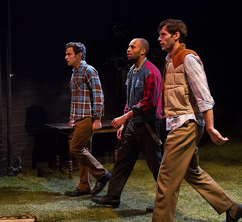 """In The Steadfast, three young men (John Behlmann, Alex Ubokudom, and Dellapina) walk in a cold forest toward the Canadian border to escape being drafted into the Vietnam War. One changes his mind: """"I cannot abandon my country"""""""