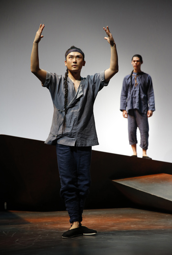Yukun Wu and Ruy Iskandar in David Henry Hwang's The Dance and the Railroad at Signature Theater