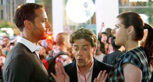 """Daniel Sunjata (left) as a blunt-speaking dramaturg in"""" Smash,"""" faces off against Debra Messing with Christian Borle trying to mediate, in New York's theater district"""