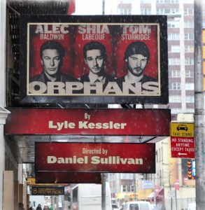 """Shia LaBoeuf has left """"Orphans"""" which was to being previews in four weeks. They'll have to take down or modify this marquee"""