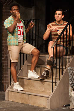 "Gregory Haney and Arturo Soria in a scene from ""Hit the Wall"" at the Barrow Street Theater. Photos by Matthew Murphy."