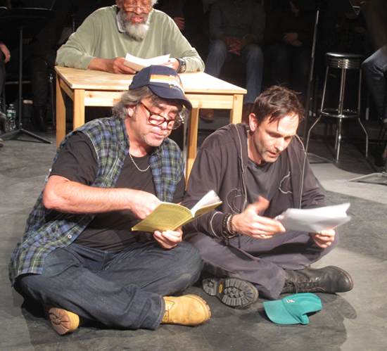 Playwright Stephen Adly Giurgis (left) reads from one of his plays at the Labyrinth Theater's New York, New York Festival.