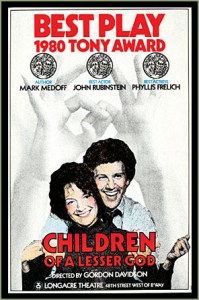 Children of A Lesser God offered the first audio-described performance for the blind, in 1980