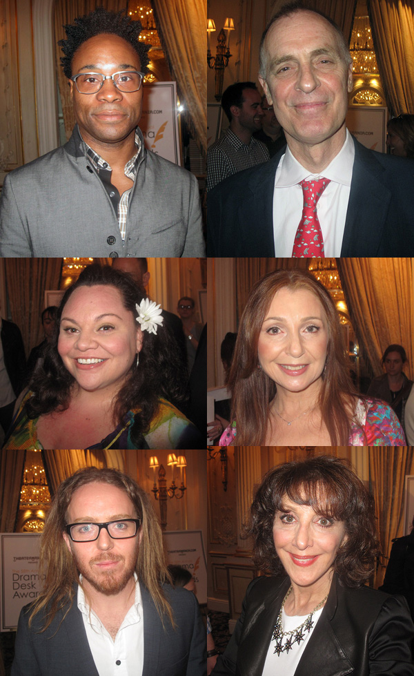 2013 Drama Desk Awards nominees: Billy Porter (Kinky Boots), Keith Carradine (Hands on a Hardbody), Keala Settle (Hardbody), Donna Murphy (Into The Woods), Tim Minchin (Matilda), Andrea Martin (Pippin)