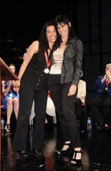 Tanya Barfield (L) recipient of the Playwriting Award and Leigh Silverman on stage at The Lily Awards