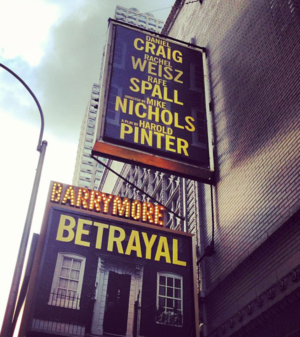 Betrayal Broadway marquee already up