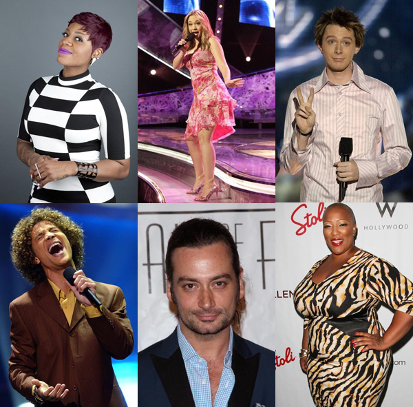 Clockwise from top left: Fantasia Barrino (in After Midnight), Diana deGarmo, Clay Aiken, Justin Guarini (in Romeo and Juliet), Constantine Maroulis, Frenchie Davis