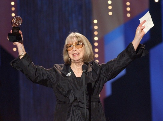 Julie Harris celebrates her special Tony Award for Lifetime Achievement in the Theatre during the 56th annual Tony Awards in June 2002.