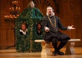 Stephen Fry as Malvolio, with, clockwise from top, Angus Wright as Sir Andrew Aguecheek, Jethro Skinner as Fabian and Colin Hurley as Sir Toby Belch