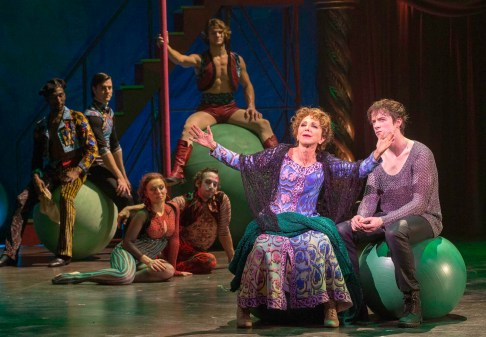 """Pippin: Andrea Martin as Berthe the grandmother sang """"No Time At All,"""" which was lively, but what was magical is that half of the time she was singing it upside down from a trapeze. Martin, 66, stripped off granny outfit you see here, revealing the skimpy, sexy circus performer's get-up underneath , and in mid-air slithered athletically and seductively around a muscular trapeze artist easily half her age. She also led the audience in a sing-along."""