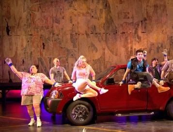 """Hands on a Hardbody: Keala Settle began with a giddy laugh. It grew into in a guffaw…then grew into a belly laugh….then grew…and grew…and was transformed into an exuberant gospel number """"Joy of the Lord""""—soon joined by the rest of the cast using the truck like a big drum."""