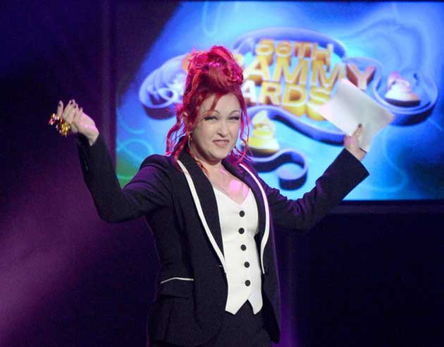 Cyndi Lauper at the Grammys, where her Kinky Boots won Best Musical Theater Album.