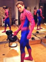 Justin M Sargent, the last Broadway Peter Parker/Spider-Man, donning his costume for the first time.