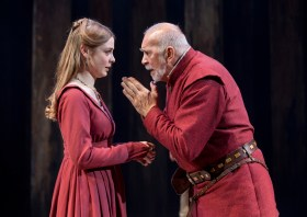 Lauren ONeil as Regan, daughter to King Lear, played by Frank Langella