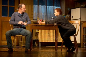 """Although the resolution of """"Outside Mullingar"""" is a bit lunatic, the body language makes for a memorable moment between Debra Messing and Brian F. O'Byrne as two shy middle aged people who finally revealing their love for one another - awkward squirming turning to tense confrontation melting into relieved embrace."""