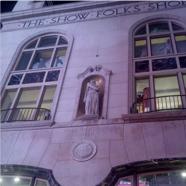 Most beautiful building in the theater district, restored. (The statue is of Ethel Barrymore)