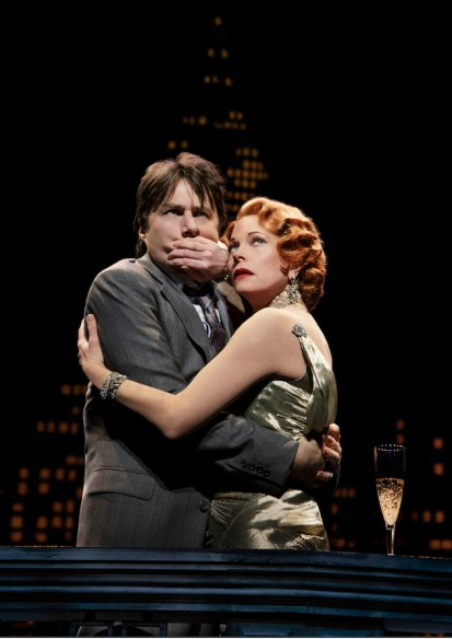 """Don't Speak!"" Marin Mazzie shuts up Zach Braff in Woody Allen's Broadway musical Bullets Over Broadway"