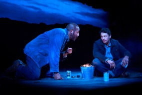 Chris O'Dowd and James Franco in Of Mice and Men, which ends in an act of violence
