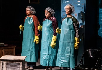 To The Bone,2014: Liza Fernandez, Annie Henk and Lisa Ramirez working in the poultry plant