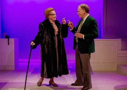 Roberta Maxwell as Lillian Hellman and Dick Cavett as Dick Cavett