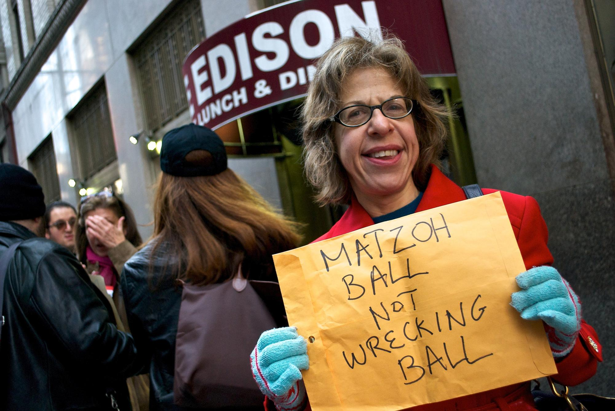 """Jackie Hoffman at Save The Edison """"lunch mob"""" Photo by Ben Jay"""