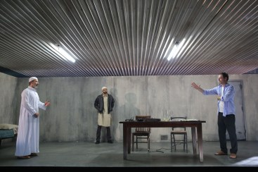 Dariush Kashani, Usman Ally and Justin Kirk in NYTW's THE INVISIBLE HAND - Photo by Joan Marcus
