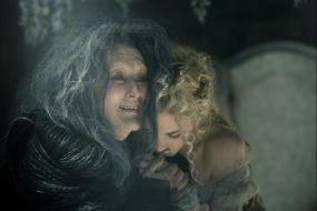 The witch (Meryl Streep) and her daughter Rapunzel (MacKenzie Mauzy)
