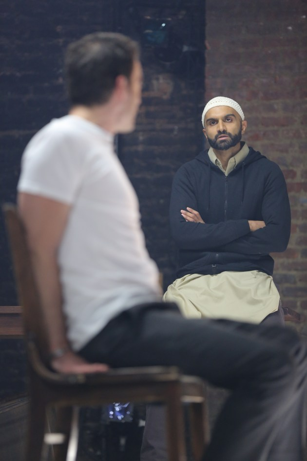 Justin Kirk and Usman Ally in NYTW's THE INVISIBLE HAND - Photo by Joan Marcus