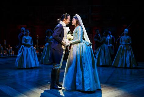Lin-Manuel Miranda as Alexander Hamilton and Phillipa Soo as his wife Eliza Hamilton