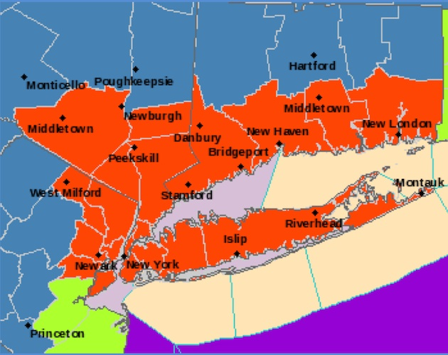 Area in orange is threatened with a snowstorm starting 1 pm Monday, January 26, that could accumulate 18 to 30+ inches of snow.