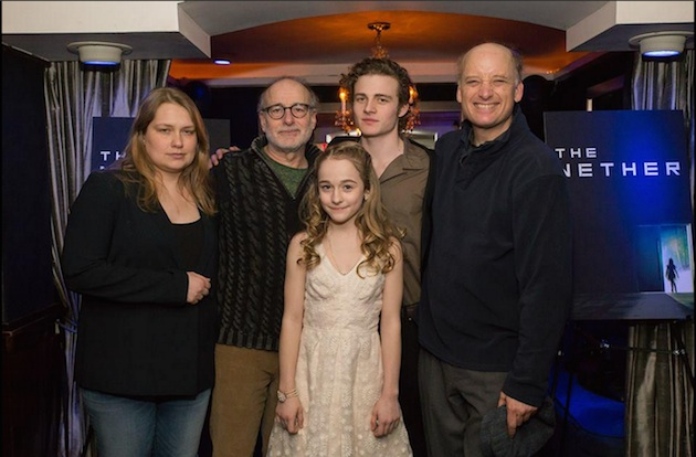 The cast of the MCC production of The Nether: Merritt Wever, Peter Friedman, Sophia Anne Caruso, Ben Rosenfield, Frank Wood