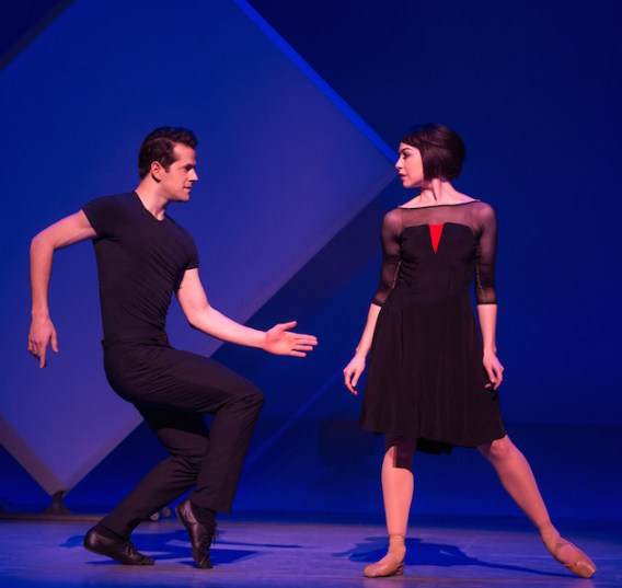 Robert Fairchild and Leanne Cope in the first jazzy leap in the pas de deux to Gershwin's An American in Paris in the musical An American in Paris