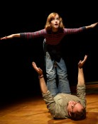 Fun Home, Off Broadway, with Sydney Lucas and Michael Servers.