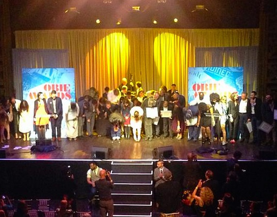 2015 Obie Award winners on stage at Webster Hall