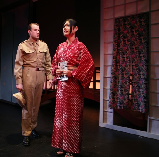 Sayonara 3 Morgan McCann is Ace Gruver, Ya Han Chang is Hanna-Ogi in Pan Asian Repertory's SAYONARA photo by John Quincy Lee