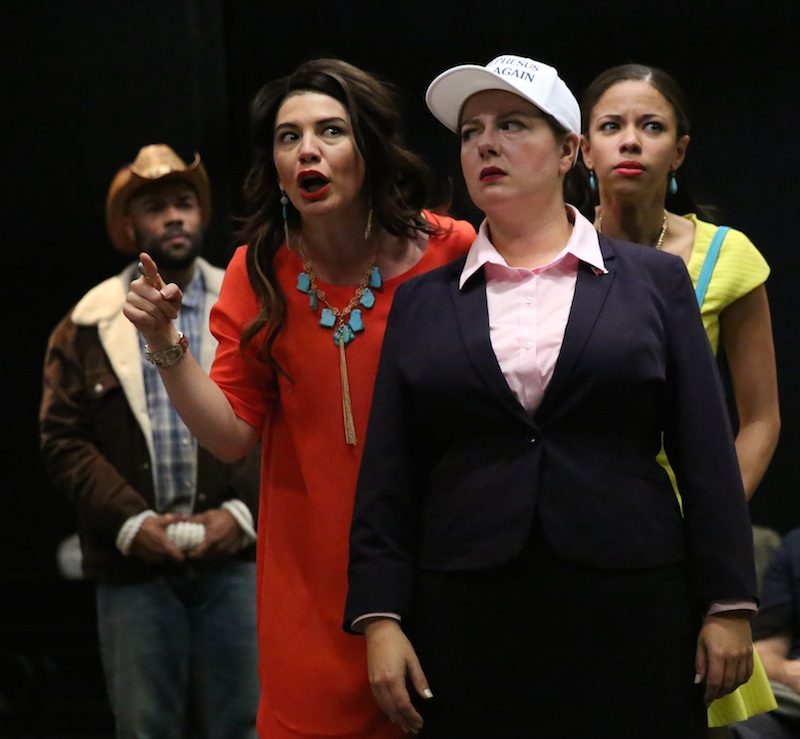 Swadkowski and Flor De Liz Perez in The Public's Mobile Shakespeare Unit production of The Comedy of Errors, directed by Kwame Kwei-Armah