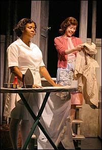 Tonya Pinkins as Caroline Thibodeaux and Veanne Cox as Rose Stopnick Gellman in a scene from CAROLINE, OR CHANGE.  Photo: Michal Daniel.