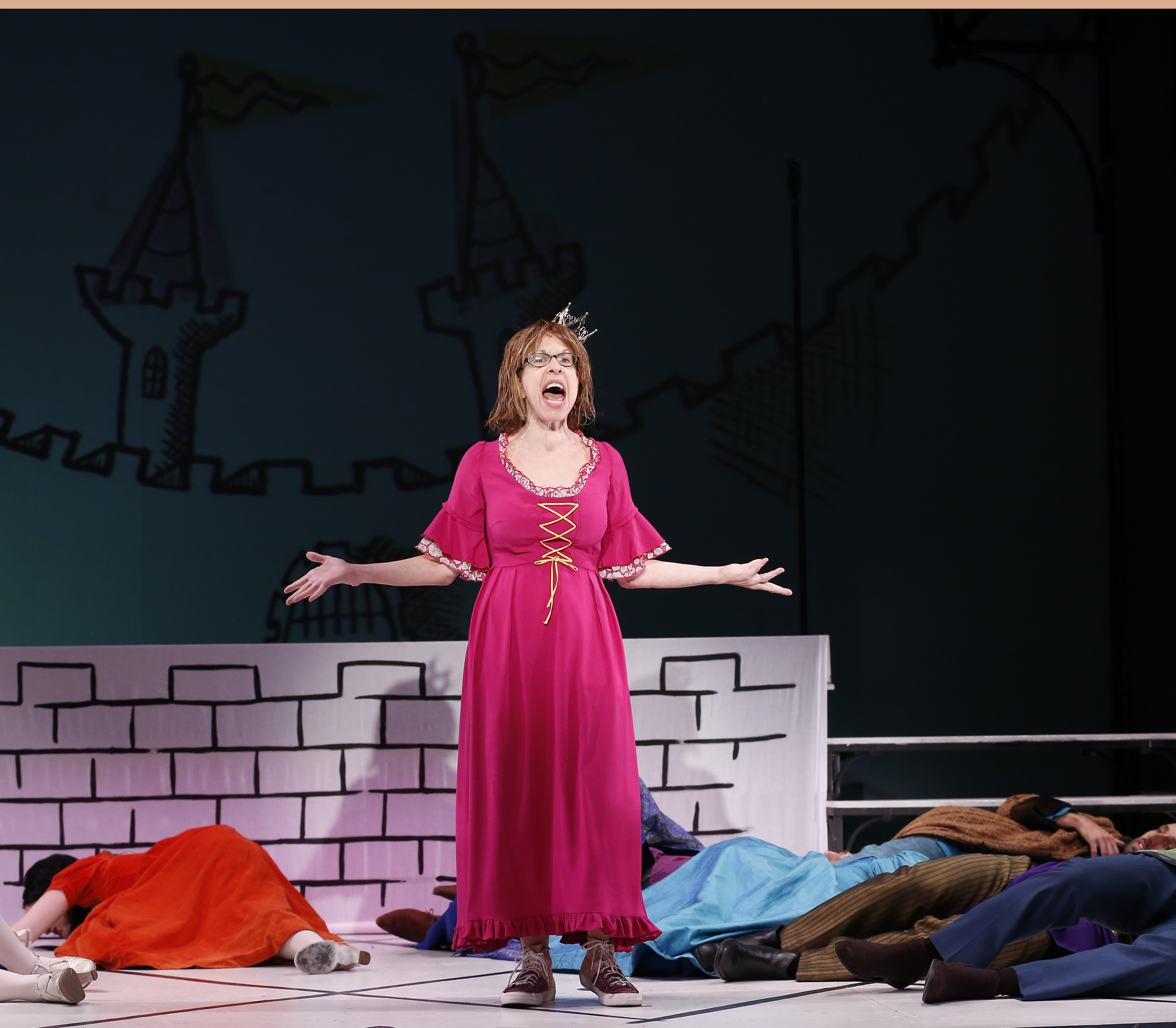 """In """"Once Upon A Mattress,"""" Jackie Hoffman belts """"I'm Shy"""" in the song """"Shy"""" with such force that she knocks out the ensemble."""