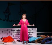 "In ""Once Upon A Mattress,"" Jackie Hoffman belts ""I'm Shy"" in the song ""Shy"" with such force that she knocks out the ensemble."