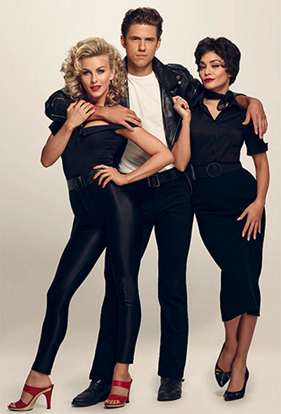 Julianne Hough as Sandy, Aaron Tveit as Danny and Vanessa Hudgens as Rizzo in Grease Live