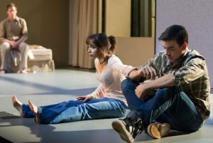 Bobby Moreno in Lazarus (far right) with Michael C. Hall and Milioti
