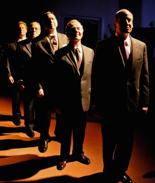 "In ""Five Presidents,"" a new play by Richard Cleveland not (yet?) on Broadway, five presidents pay their respects to Richard Nixon at his 1994 funeral. From left, Brit Whittle (Bill Clinton), Mark Jacoby (George H. W. Bush), Steve Sheridan (Ronald Reagan), Martin L'Herault (Jimmy Carter) and John Bolger (Gerald Ford)."
