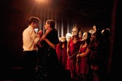 (l-r) Nicholas Bruder and Sophie Bortolussi with audience members (l