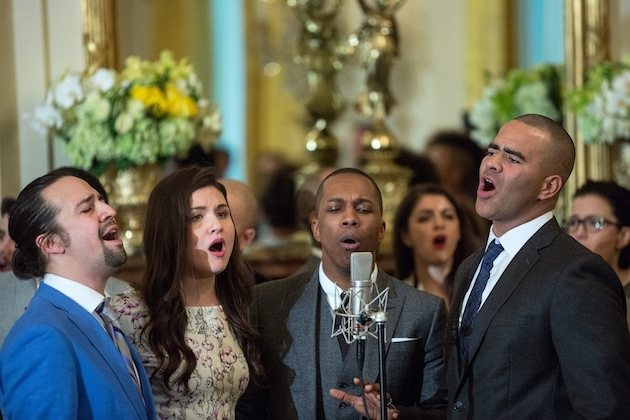 """Cast members Lin-Manuel Miranda, Philipa Soo, Leslie Odom Jr, and Christopher Jackson perform musical selections from the Broadway musical """"Hamilton"""" in the East Room of the White House, March 14, 2016. (Official White House Photo by Amanda Lucidon)"""
